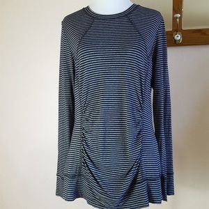 CAbi #795 Striped Ruched Long Sleeve Knit Top